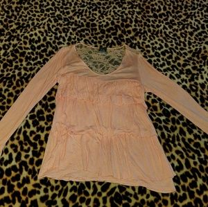 """Peach """"Dots"""" lace back top"""